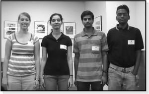 Pictured (from left to right): Sarah Ellie Ziems (Treasurer), Sravani Vadlamani (Vice-President), Bhargava Kishore Sana (President), and Karthik Konduri (Secretary) of the Arizona State University Student Chapter.