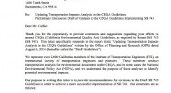 California SB 743 – Draft Guidelines Comment Letter – Comment Period Extended