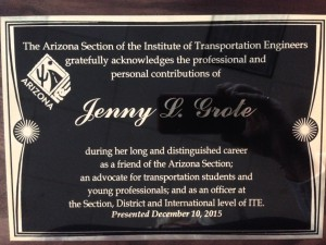 Arizona Section presents a plaque for a Jenny L. Grote Scholarship Award